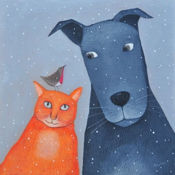 A painting of a cat and dog in the snow with a robin on the cats head.