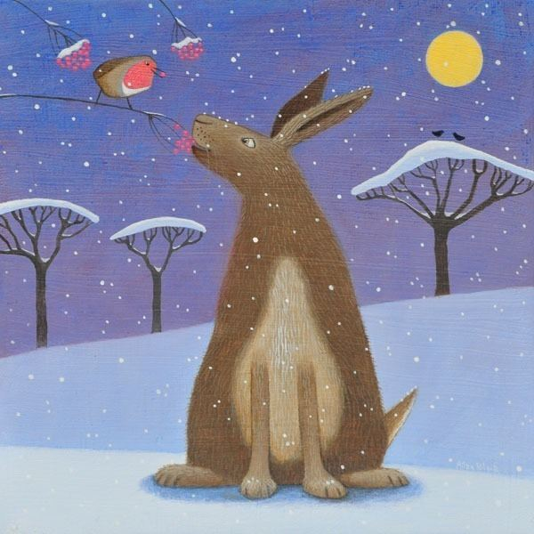 A hare talks to a robin in the snow scene painting.