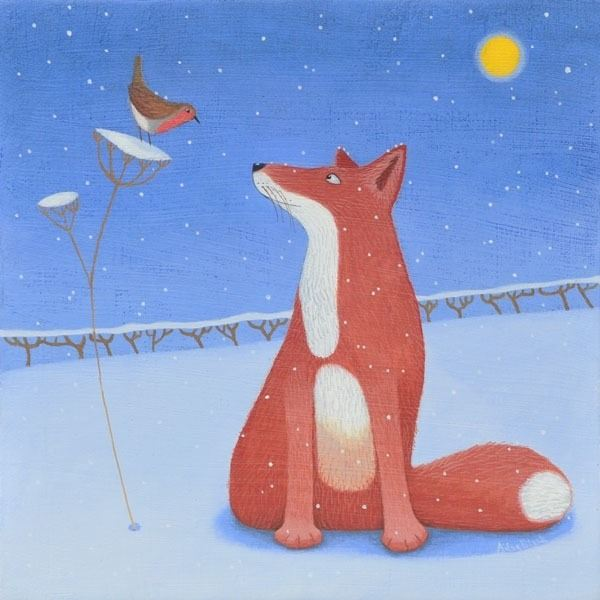 A fox talks to a robin in this snowy painting by Ailsa Black
