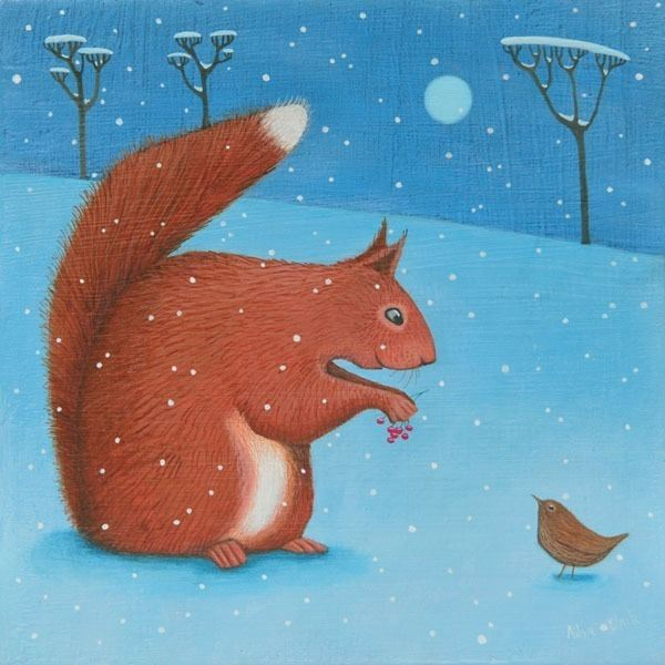 A red squirrel and a wren in the snow scene painting by Ailsa Black