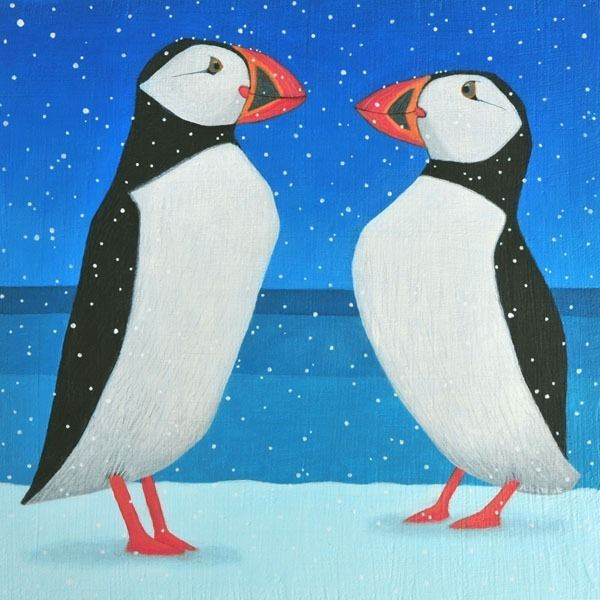 Two puffins in the snow in this snowy painting by Ailsa Black