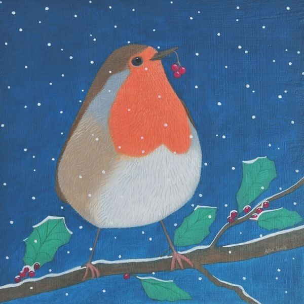 A classic painting of a robin on a holly branch.