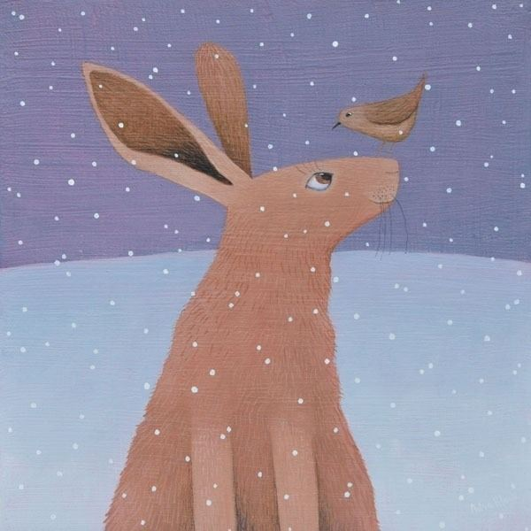 A hare and a wren talk to each other in the snow scene painting with browns and purples.