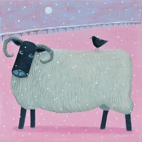 A black faced hseep on a pink background feature in this snow scene painting by Ailsa Black
