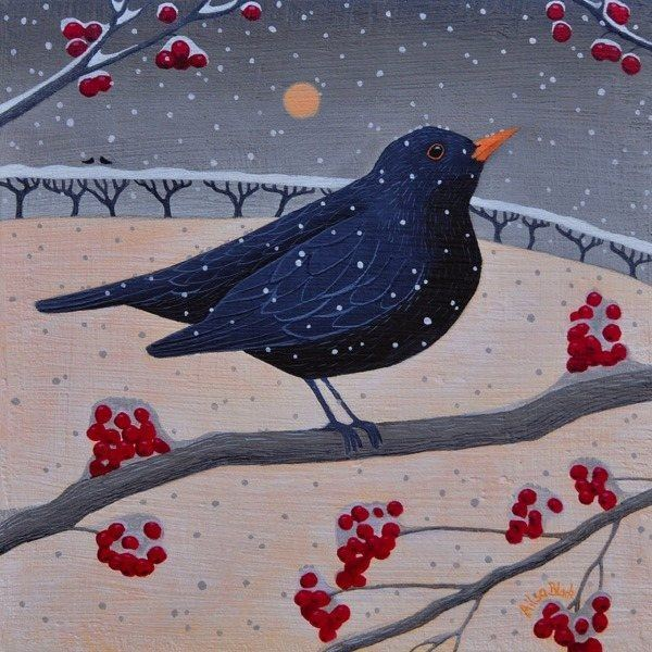A blackbird sits on a rowan branch which is covered in snow in this snowy Christmas  painting.