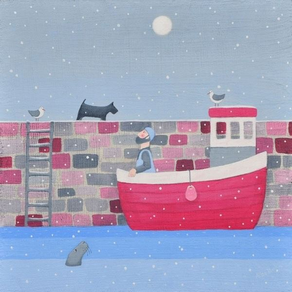 A coastal snow scene painting of a fisherman and a boat.