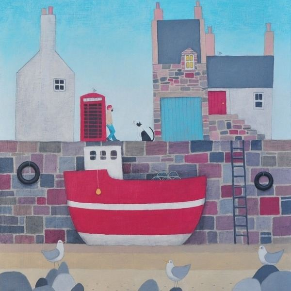 A colourful coastal harbour painting by award winning Scottish artist Ailsa Blackof a man and his collie dog by the harbour.