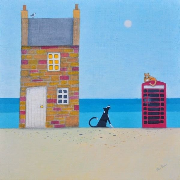 A dog watches a cat on top of a telephone box in this humorous painting