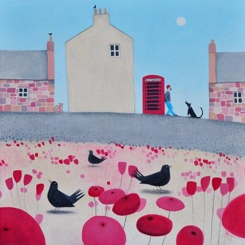 A painting of a man and collie dog with poppies and blackbirds