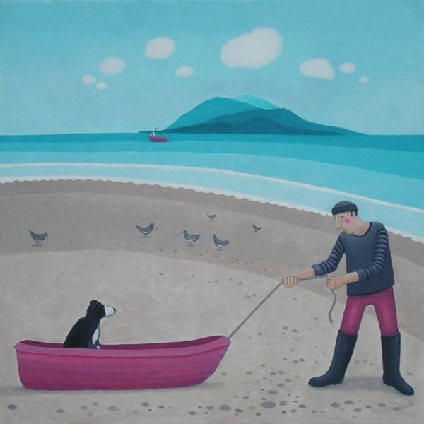 A painting of a man pulling his collie dog in a rowing boat on the beach.