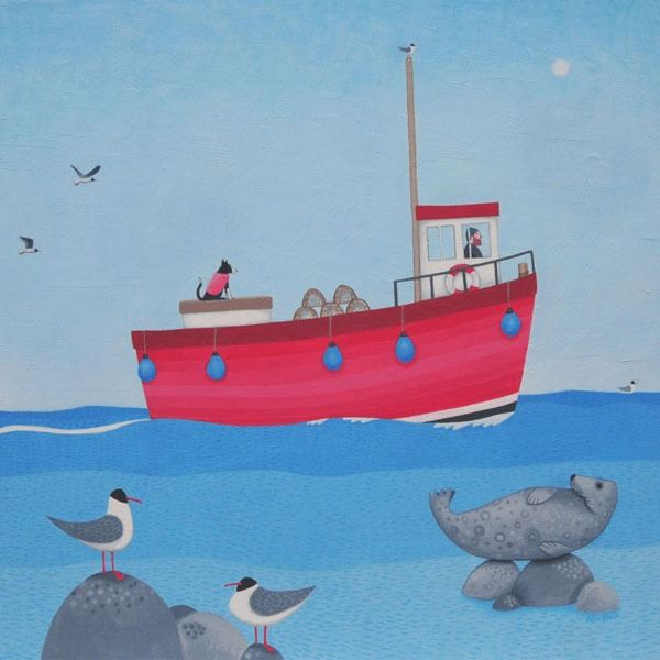 A painting of a red fishing boat at sea with seals, seabirds and a collie dog from Scottish Artist Ailsa Black