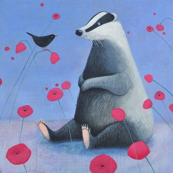 a painting of a badger sitting with a blue background by scottish artist ails black