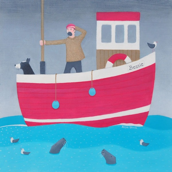 A painting of a man and his collie dog setting sail.