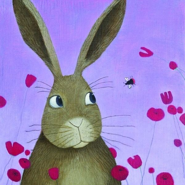 a colouful fun painting of a rabbit and a red tailed bee by ailsa black