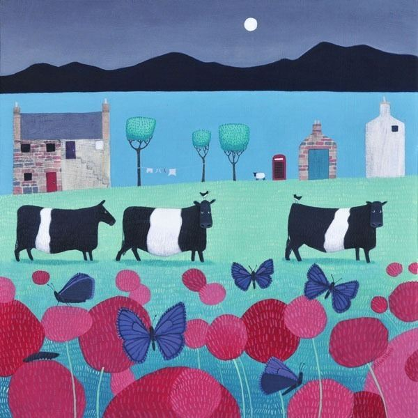 a colourful and very popular painting by ailsa black of belted galloway cattle grazing in scotland