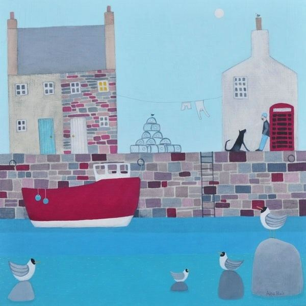 A colourful harbour painting from award winning Scottish artist Ailsa Black