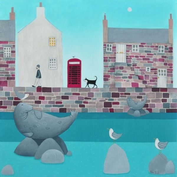 A colouful coastal harbour scene with seals and gulls.