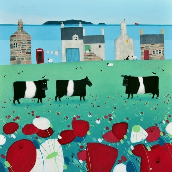 Belted galloway cattle graze by a coastal village in Dumfries and Galloway from Scottish artist Ailsa Black