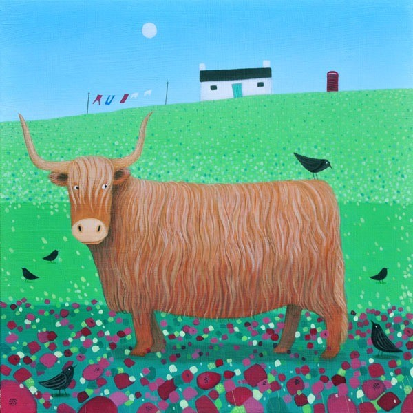 a colourful highland cow painting by ailsa black