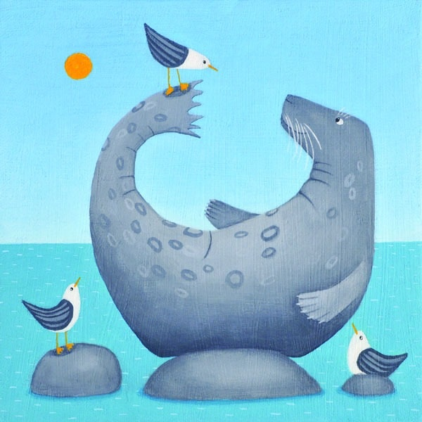 a light hearted painting of a seal balancing a seagull on its tail by scottish painter ailsa black
