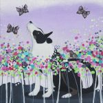 """Flutter Flitter"" dog and butterflies painting"