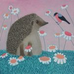 """Tall Tales"" Hedgehog and bullfinch painting"