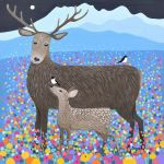 """Flowers of the Glen"" painting of red deer"