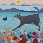 """Up North"" Huskie Dog and Blackbird Scottish scene"