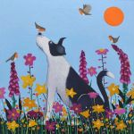 """Bestie to the Birdies"" collie in flowers"
