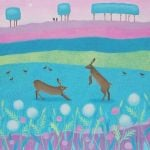 """Hoppity Hickertie"" hares playing painting"