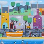 """No Ball Games"" - naive scottish village painting"