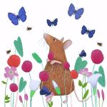 """Mousing About"" mouse and butterflies on white"
