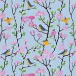 """Bluetits and Blossoms"" repeat pattern on blue"