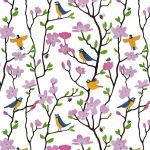 """Bluetits and Blossoms"" repeat pattern on white2"