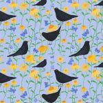 """Blackbirds in Bloom"" repeat pattern on pale mauve]"