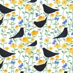 """Blackbirds in Bloom"" repeat pattern on white"