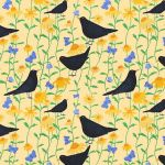 """Blackbirds in Bloom"" repeat pattern on peach"