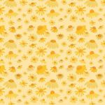 """Blackbird in Bloom"" daisies repeat pattern on peach"