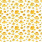 """Blackbird in Bloom"" daisies repeat pattern on white"