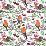 """Orange Delights"" robin repeat pattern on milk"