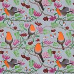 """Orange Delights"" robin repeat pattern on grey"