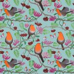 """Orange Delights"" robin repeat pattern on teal"