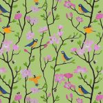 """Bluetits and Blossums"" bluetit repeat repeat pattern on green"