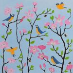 """Bluetits and Blossoms"" bluetit and cherry blossom painting"