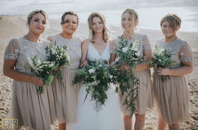 Foliage beach wedding