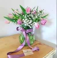Pretty Pinks and lilac tulip vase