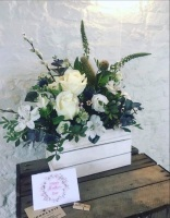 Vintage Crate Floral Foam Arrangement White