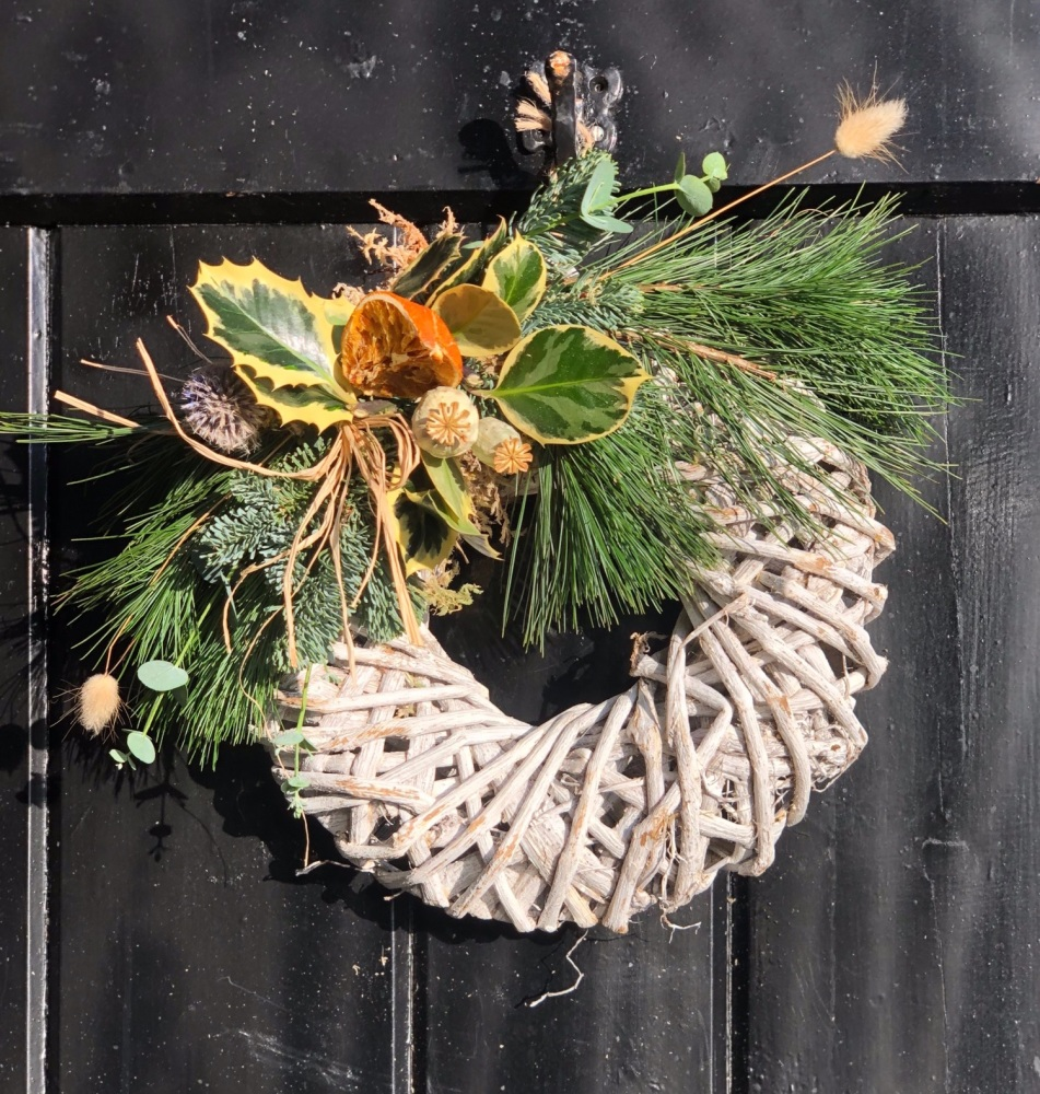 Wicker Wreath with Christmas Spray