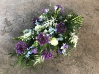 Purples and blues Single Ended spray in floral foam
