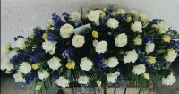 6ft White and Yellow Rose Casket spray